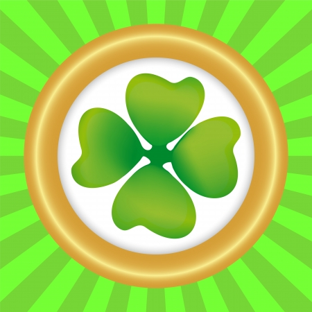Clover symbol of the day of St  patrka in round frame Vector