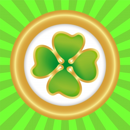 Clover symbol of the day of St  patrka in round frame Stock Vector - 17766054
