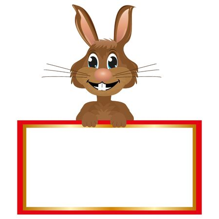 modern existence: rabbit with a big blank banner Illustration