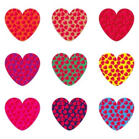 love wallpaper: Nueve corazones en una tarjeta postal para el D�a de San Valent�n s