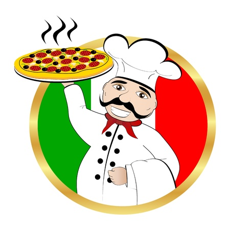 Chef pizza on background of the flag of Italy Vector