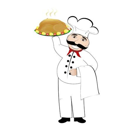 Cook and roast chicken Stock Vector - 18160009
