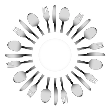 cutlery and a white plate Stock Vector - 18160015