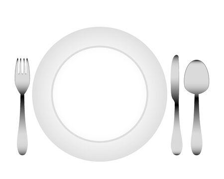 cutlery and a white plate Vector
