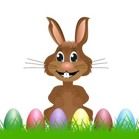 modern existence: rabbit with easter eggs on the grass Illustration
