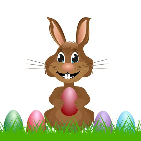 modern existence: Easter Bunny with egg in hand Illustration