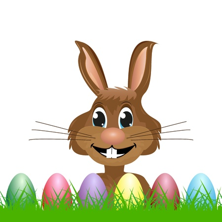 Easter Bunny looks out for Easter eggs and grass Stock Vector - 18179822