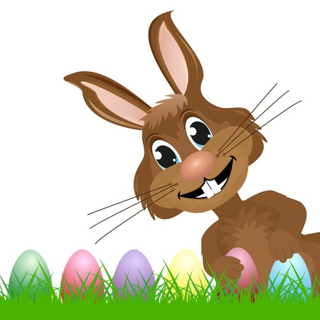 Easter Bunny looks to the right and hold Easter eggs Stock Vector - 18179801