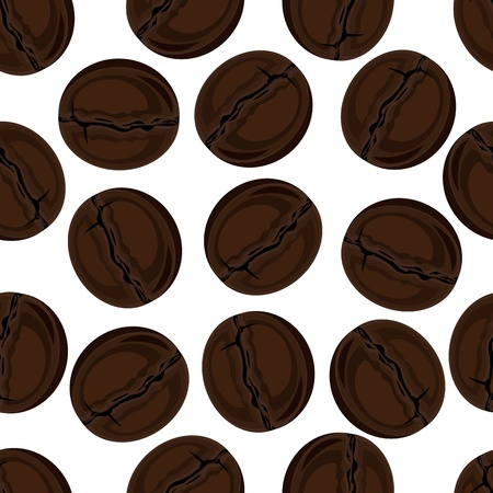 Seamless texture  coffee beans Vector