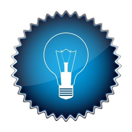 blue button with the light bulb Stock Vector - 18444534