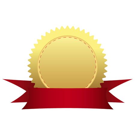 burgundy ribbon: Medaglia d'oro con nastro Vettoriali