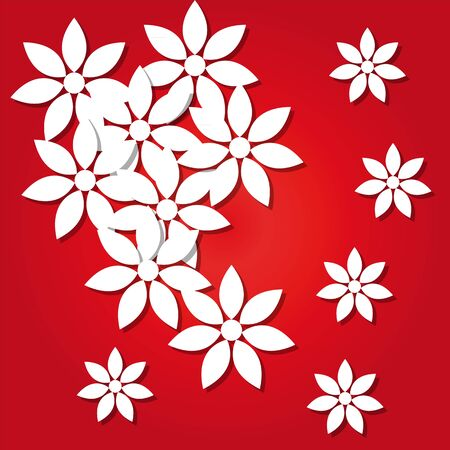 paper flowers on a red background Stock Vector - 18444545