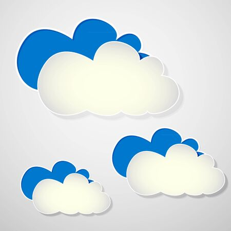 paper blue and white clouds on a gray background Stock Vector - 18748493