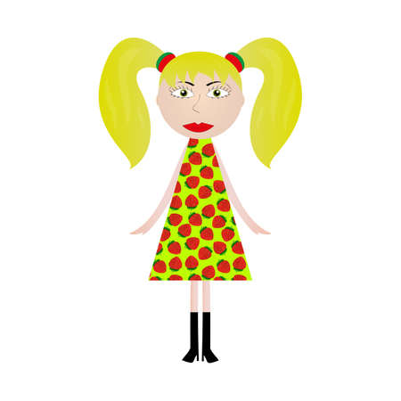 girl in a dress with a picture of strawberries Vector