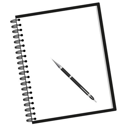 note de service: cahier et un stylo Illustration