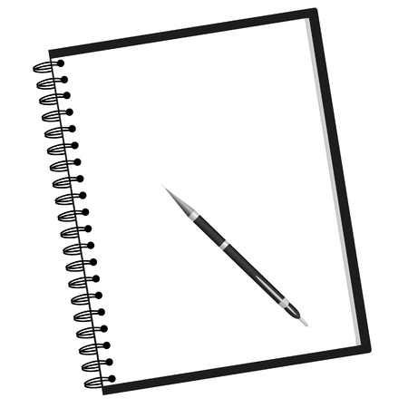 notebook and pen Иллюстрация
