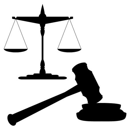 court judge: Scales of justice and gavel
