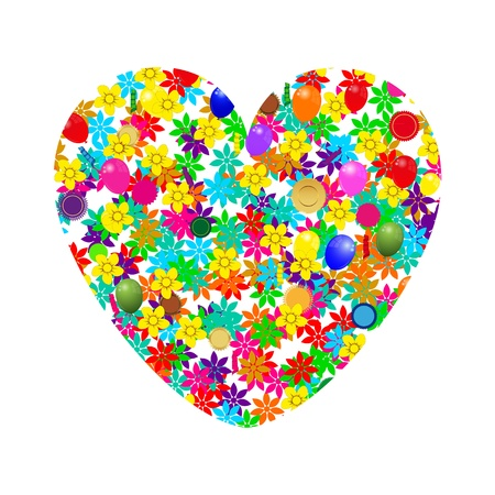 heart of flowers and balloons Vector