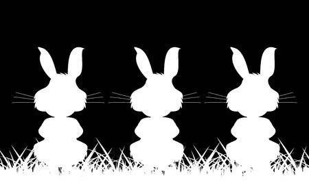 Three white silhouette of a rabbit on a black background Stock Vector - 18895053