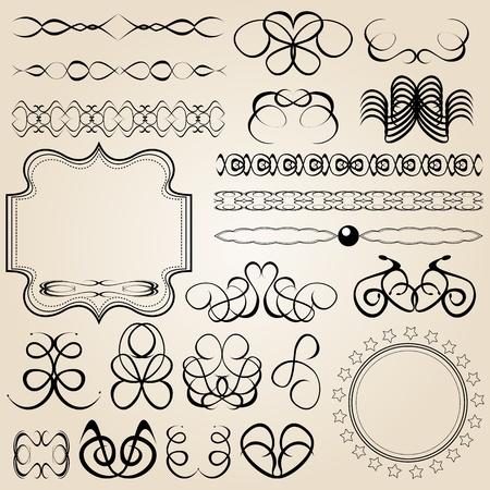 set of vector calligraphy elements