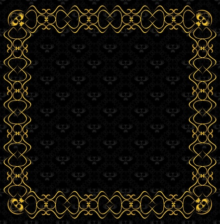 vintage vector background with golden frame Vector