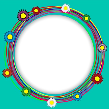 Floral round frame with place for text Stock Vector - 19987792