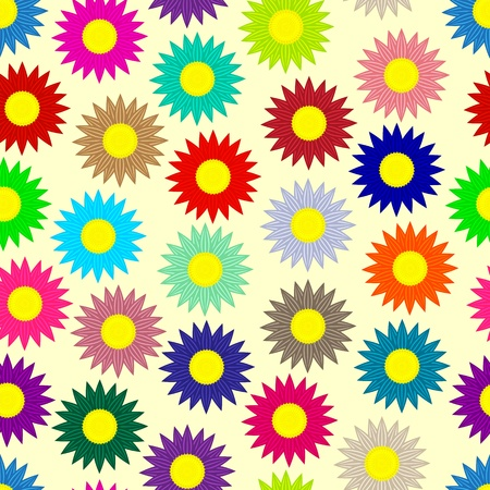 Seamless background  Colored daisies Illustration