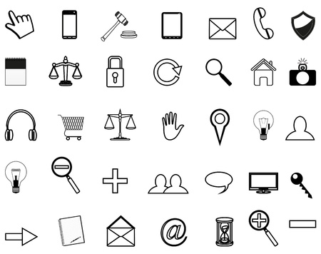 review site: set vector of business icons for website