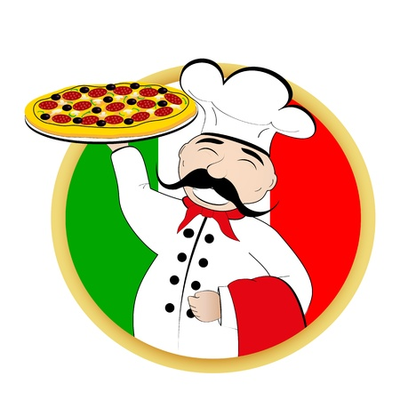 Chef pizza on background of the flag of Italy