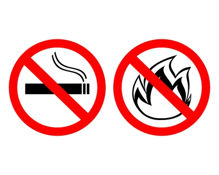 strikethrough: prohibiting signs  no smoking  and  fire does not breed  Illustration