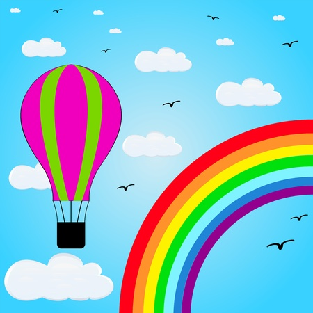 air balloons flying in the background of the rainbow