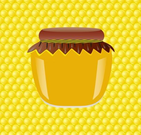 waxy: Bank of honey on honeycomb background Illustration
