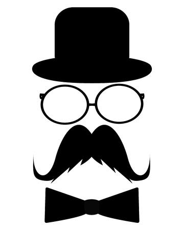 glass eye: Bigote, sombrero, gafas de sol y una mariposa Vectores
