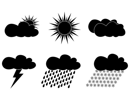 set of black icons with images of weather Vector