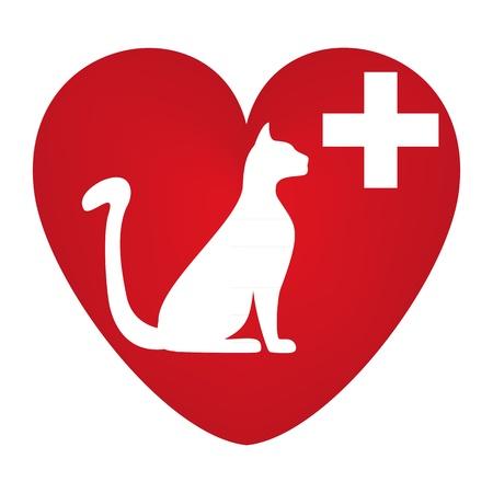 zooth�rapie: Symbole v�t�rinaire avec une image d'un chat Illustration