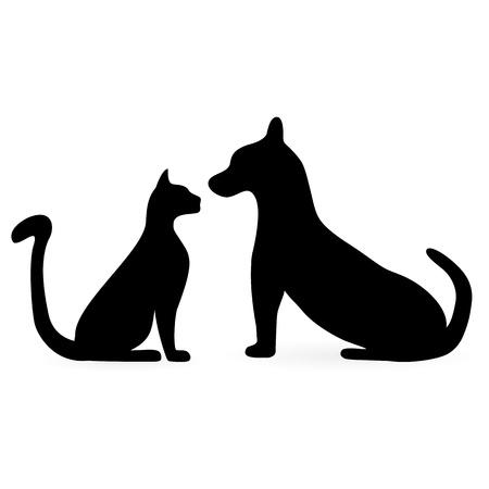 silhuetas de gatos e cães Ilustración de vector