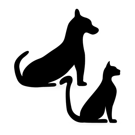 cat silhouette: silhouettes of cats and dogs Illustration