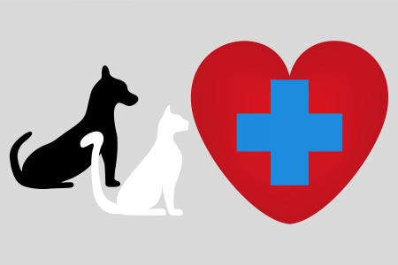 veterinary symbol: Veterinary symbol with a picture of a cat and dog