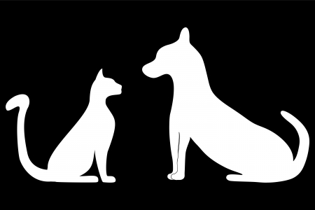 silhouettes of cat and dog Иллюстрация