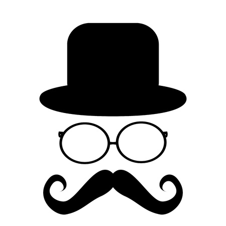 sideburns: Mustache, glasses and a hat
