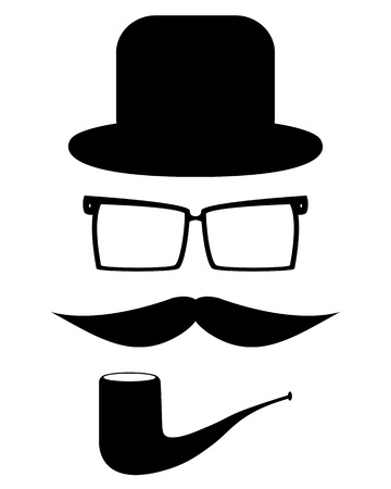 Mustache, glasses and a hat Stock Vector - 20835998