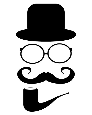 Mustache, glasses and a hat Vector
