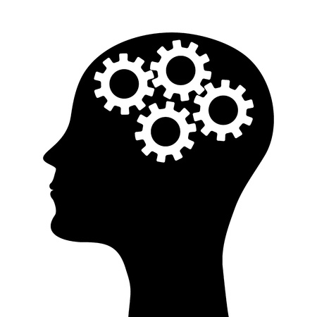 man s: silhouette of a man s head with a picture of the mechanism