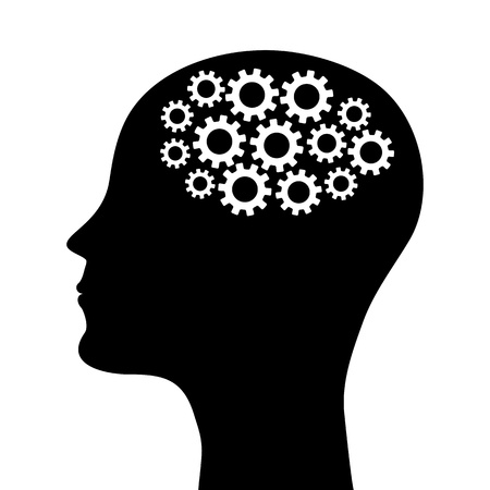silhouette of a man s head with a picture of the mechanism Vector