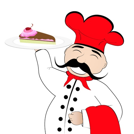 chef with a cake on a plate Vector
