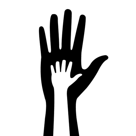 silhouettes of adult and children s hands Vector