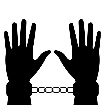 handcuffs woman: silhouette of hands in handcuffs