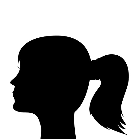 woman profile: silhouette of a young girl with a ponytail