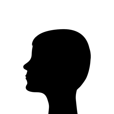 silhouette of a man s head on a white background Vector