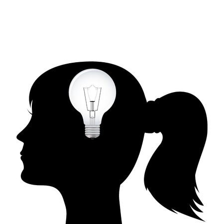 silhouette of a woman s head with a light bulb Vector
